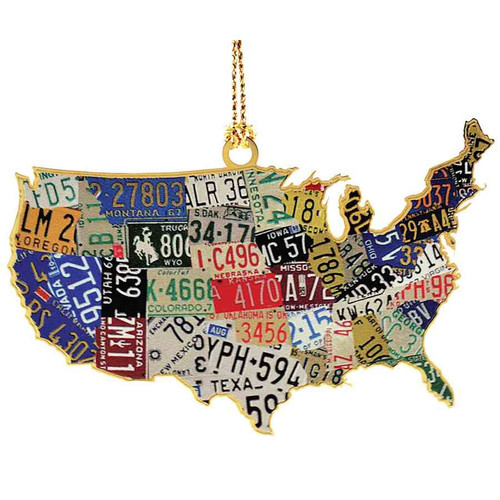 U.S.A. License Plate Christmas Ornament