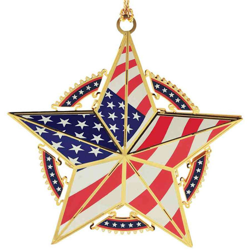 Star with U.S.A. Flag Christmas Ornament