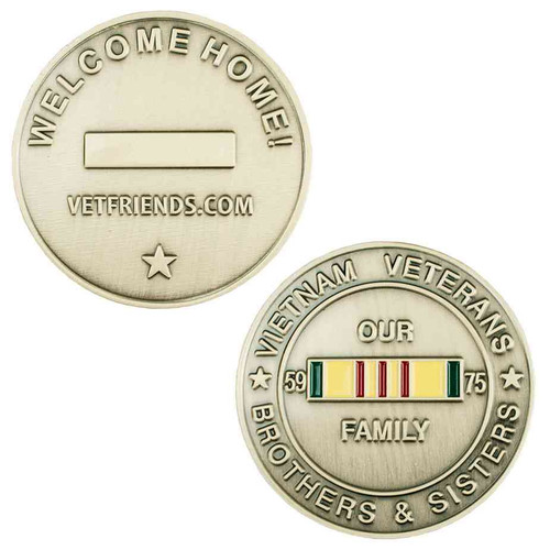 vietnam veteran service ribbon welcome home brass challenge coin