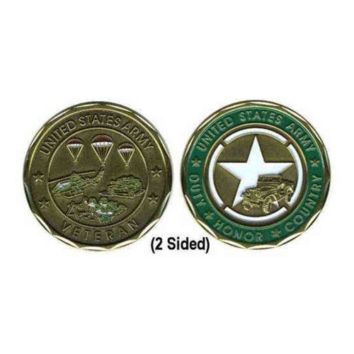 us army veteran star and parachutes challenge coin