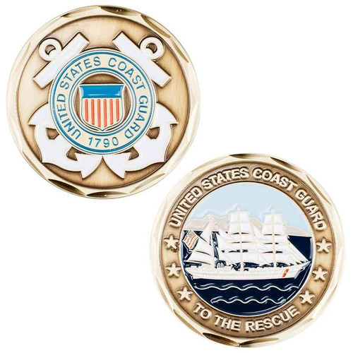 us coast guard to rescue logo and ship challenge coin