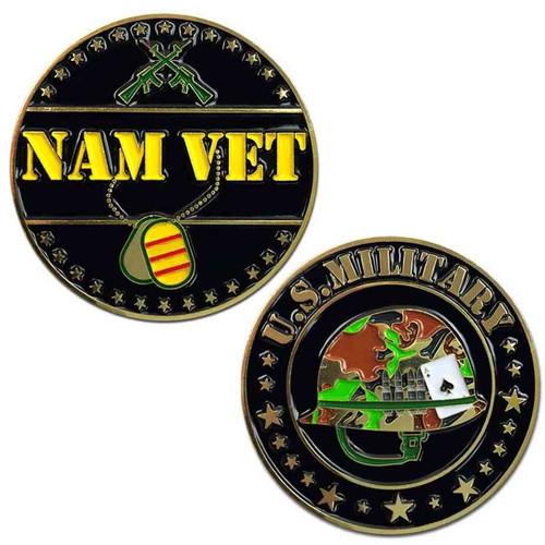 vietnam veteran challenge coin helmet s