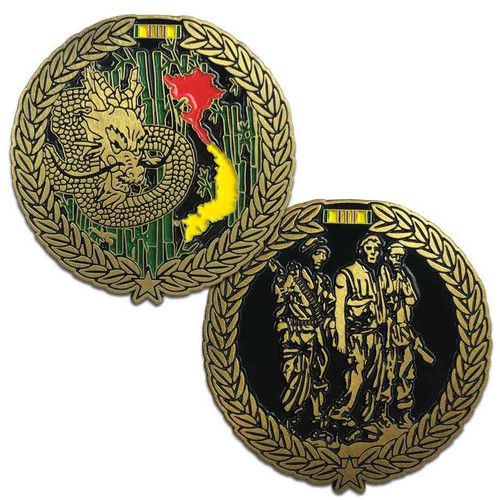 vietnam veteran challenge coin dragon and three brothers statue