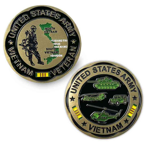 the officially licensed by u s army vietnam veteran challenge coin soldier and map s