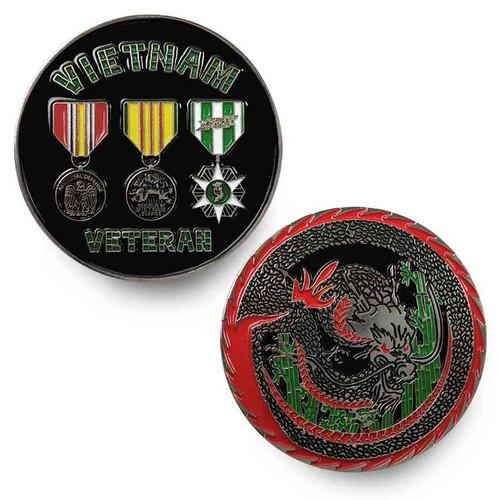 vietnam veteran challenge coin 3 medals and dragon