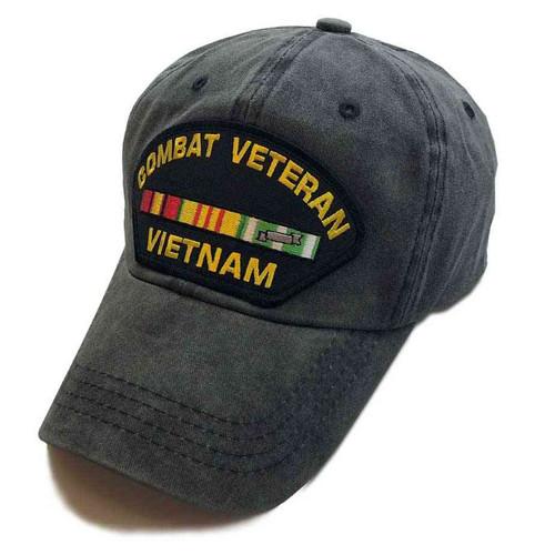 combat veteran vietnam special edition vintage grey black patch hat