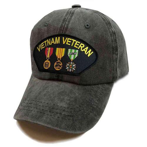 vietnam veteran hat 3 medals vintage grey