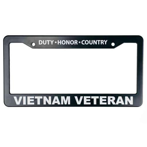 vietnam veteran duty honor country black license plate frame