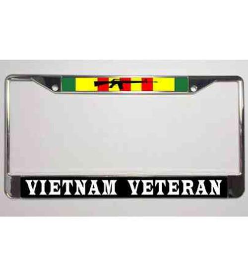 vietnam veteran his rifle ribbon license plate frame