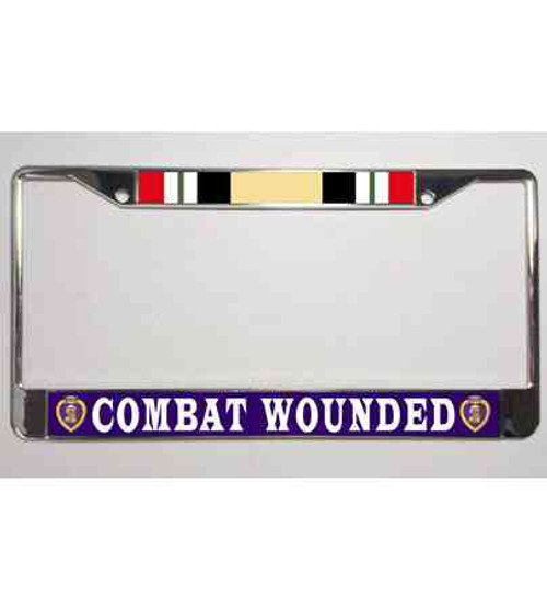 iraq war oif purple heart veteran license plate frame
