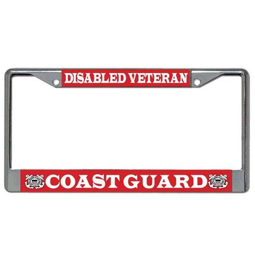 disabled veteran coast guard license plate frame