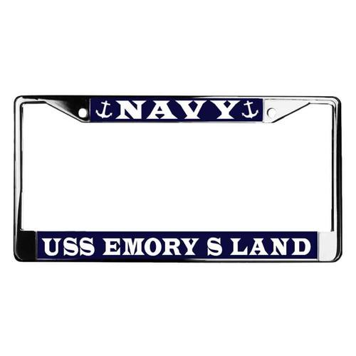 uss emory s land license plate frame