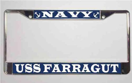 uss farragut license plate frame