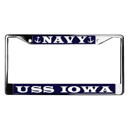 uss iowa license plate frame