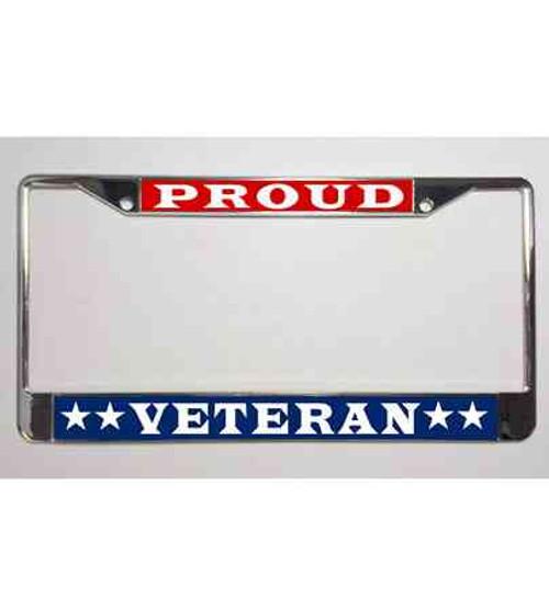 patriotic proud veteran stars license plate frame