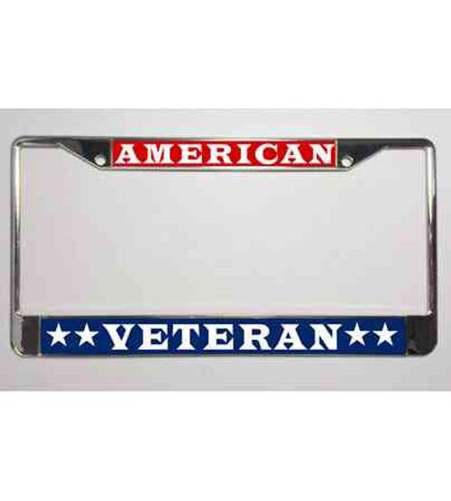 patriotic american veteran stars license plate frame