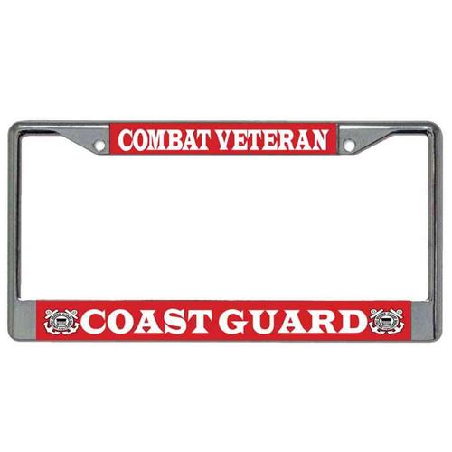 coast guard combat veteran license plate frame