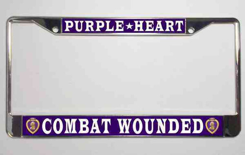 purple heart combat wounded license plate frame