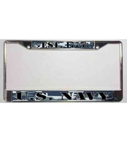 u s navy blue camo est 1775 license plate frame