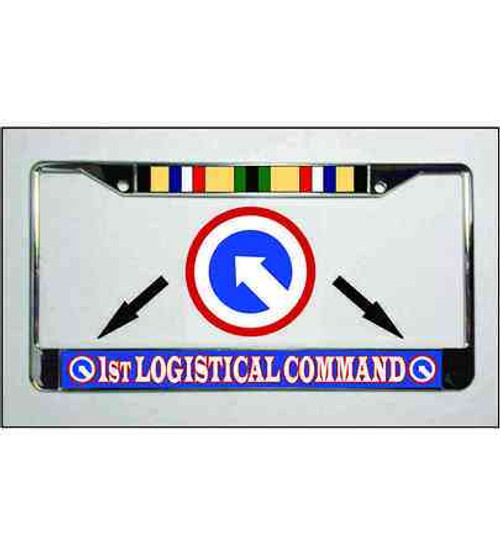 army 1st logistical command desert storm ribbon license plate frame