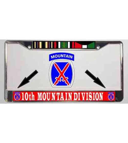 army 10th mountain division license plate frame desert storm ribbon