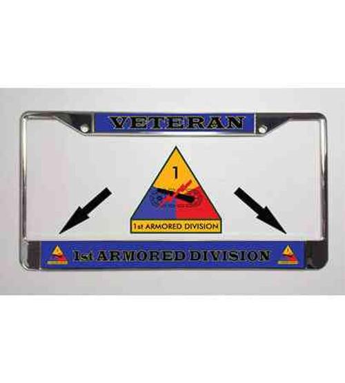 1st armored division veteran license plate frame