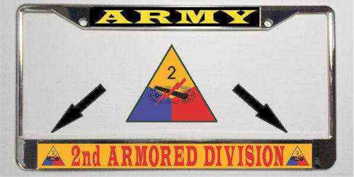 army 2nd armored division army license plate frame