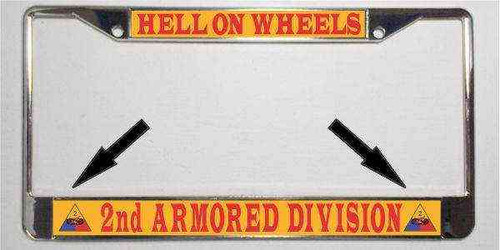 army 2nd armored division motto license plate frame