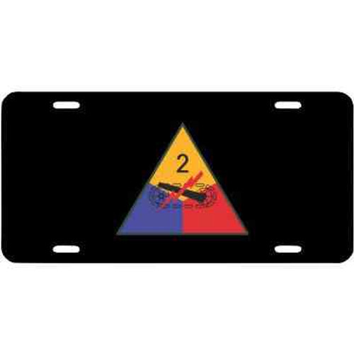 army 2nd armored division black license plate frame