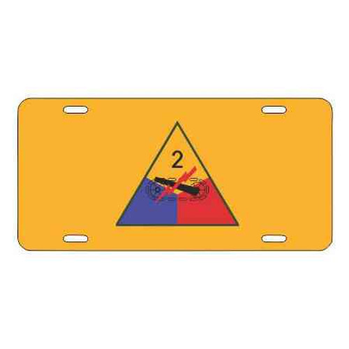 army 2nd armored division yellow license plate