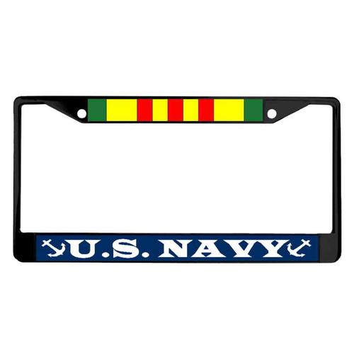 navy vietnam veteran powder coated license plate frame