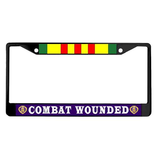 vietnam war purple heart veteran powder coated license plate frame