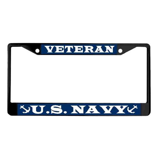 navy veteran powder coated license plate frame