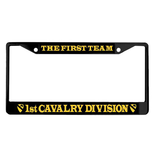 1st cavalry division first team powder coated license plate frame