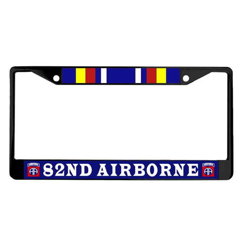 82nd airborne war on terror campaign ribbon powder coated license plate frame