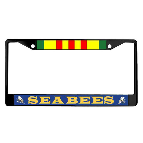 navy seabees vietnam ribbon powder coated license plate frame