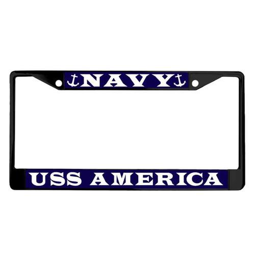 uss america powder coated license plate frame
