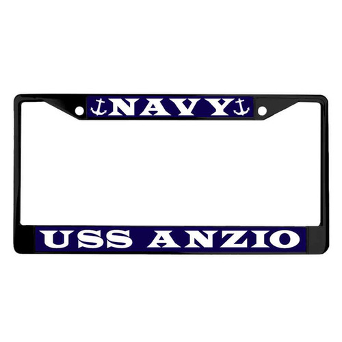 uss anzio powder coated license plate frame