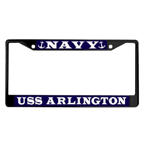 uss arlington powder coated license plate frame