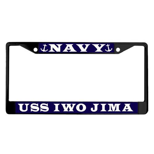 uss iwo jima powder coated license plate frame