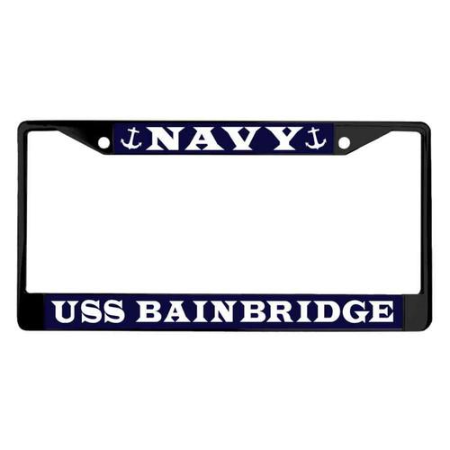 uss bainbridge powder coated license plate frame