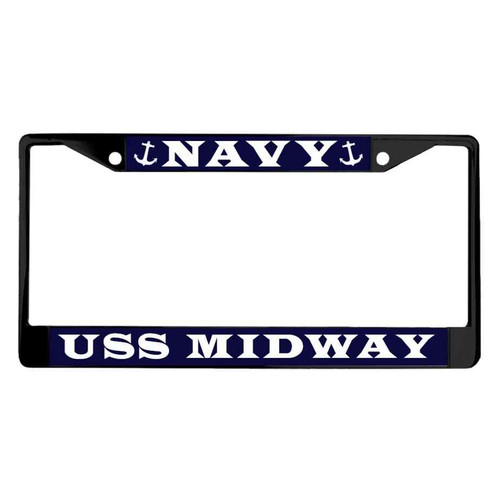 uss midway powder coated license plate frame