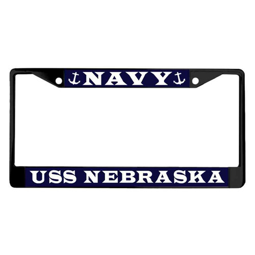 uss nebraska powder coated license plate frame