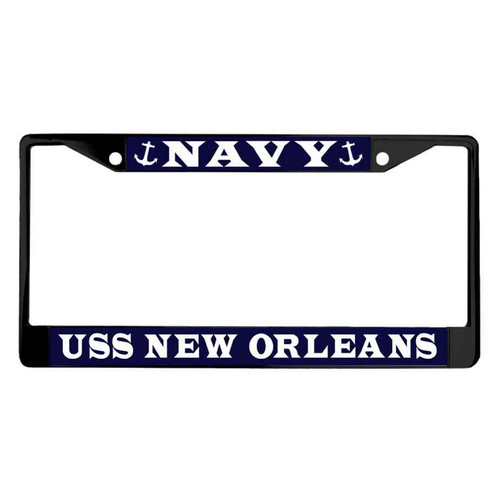 uss new orleans powder coated license plate frame