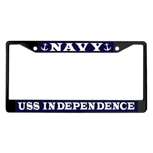 uss independence powder coated license plate frame