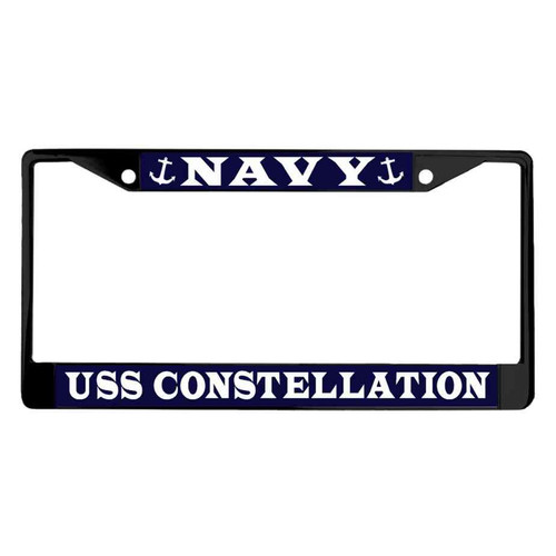 uss constellation powder coated license plate frame