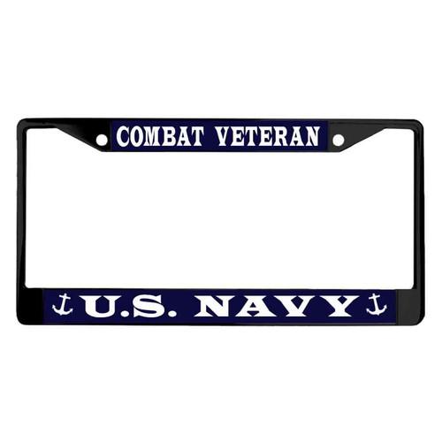 navy combat veteran black powder coated license plate frame