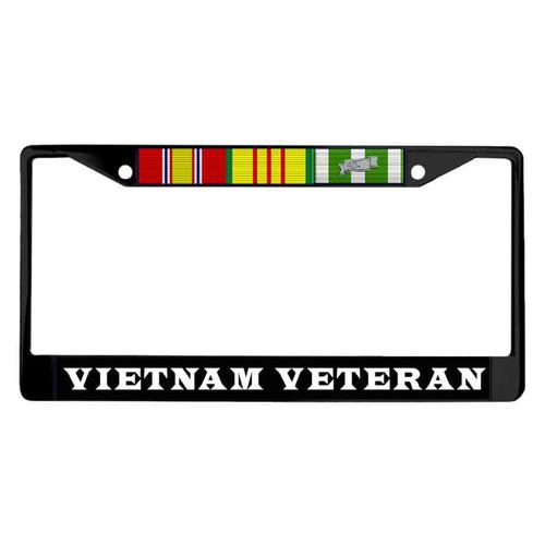 vietnam veteran 3 ribbons powder coated license plate frame