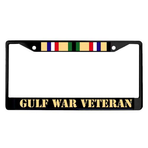 gulf war veteran black powder coated license plate frame ribbon