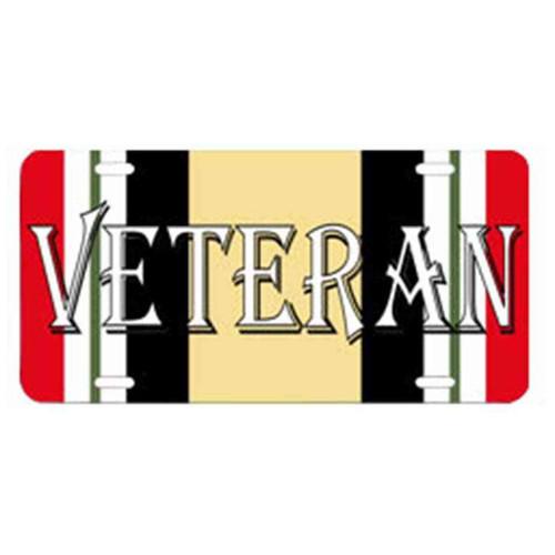 the word veteran iraq campaign ribbon license plate